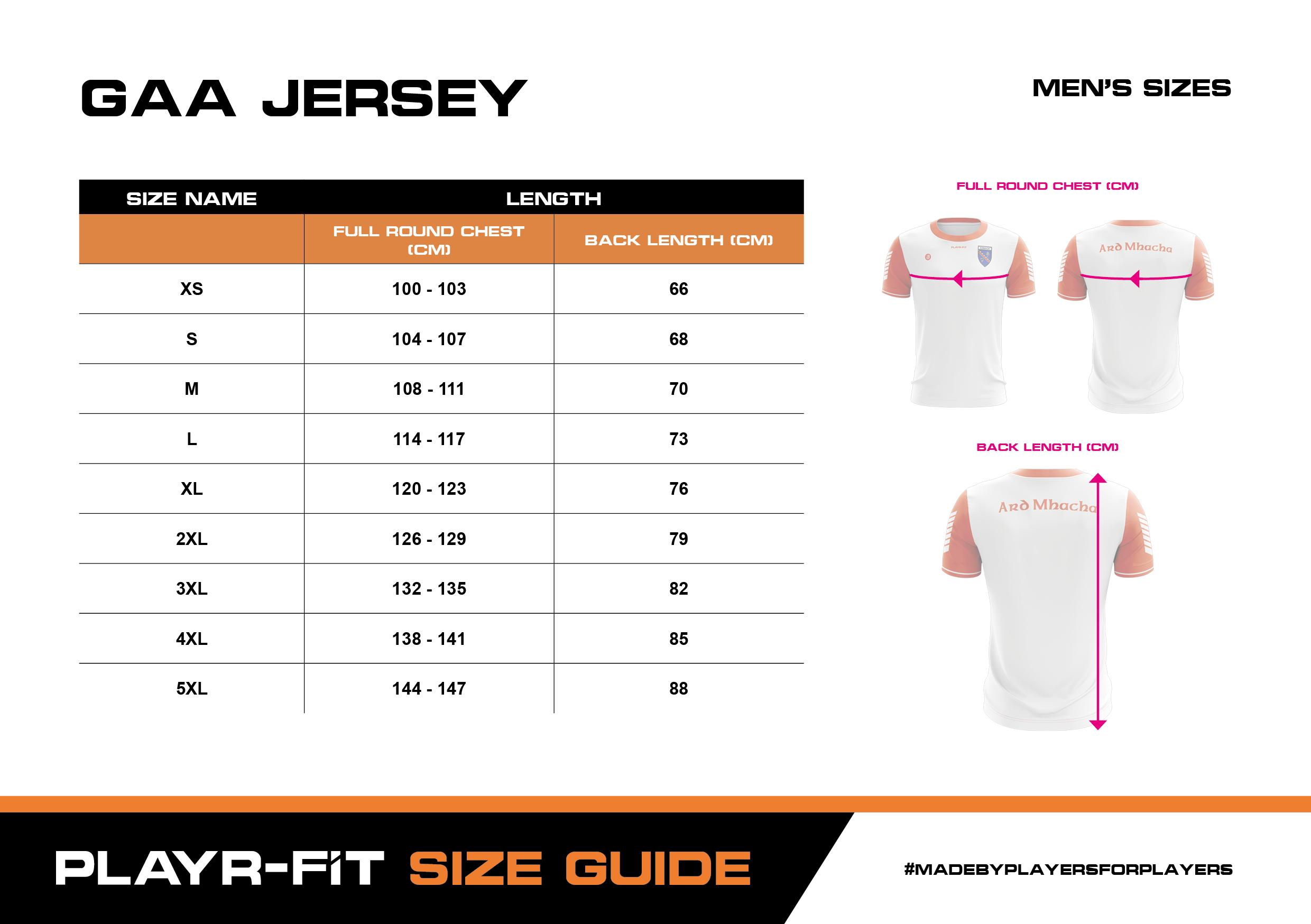 Size Guide - GAA Jersey - Men's