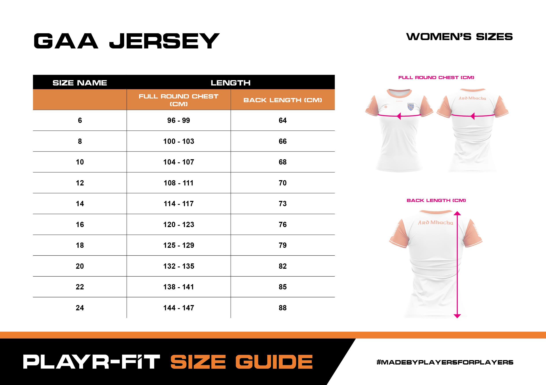 Size Guide – GAA Jersey – Women's